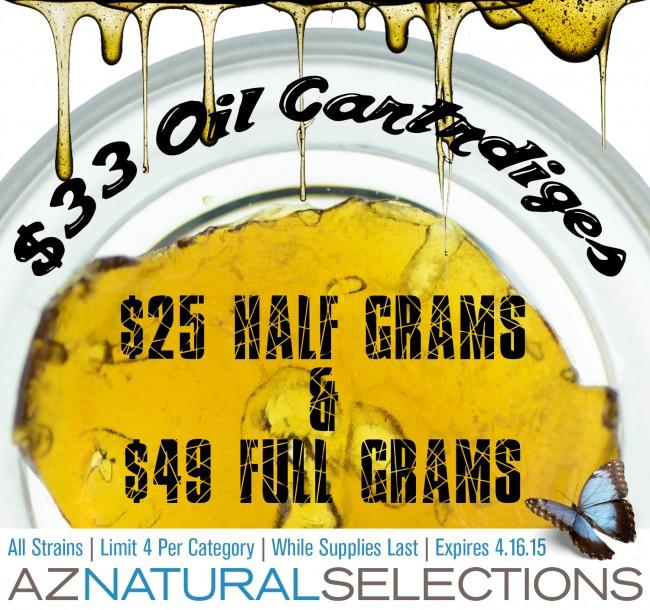 $33 OIL CARTRIDGES, $25 HALF GRAM, & $49 FULL GRAM CONCENTRATES!